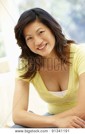 Asian woman at home