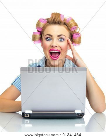 Surprised Funny Business Woman With Laptop, Isolated On White