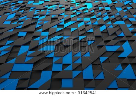 Abstract 3d rendering of futuristic surface with triangles.