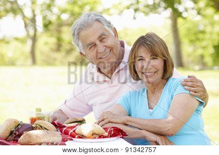 Senior Hispanic Couple Enjoying Picnic In Park