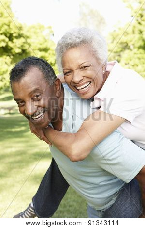 Romantic African American Couple Having Fun In Park