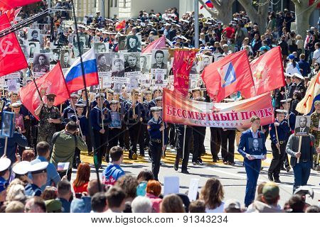 Sevastopol, Crimea - May 9, 2015: The Immortal Regiment Marches. The Parade In Honor Of 70Th Anniver