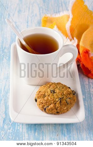Cup of tea with diet oatmeal cookies