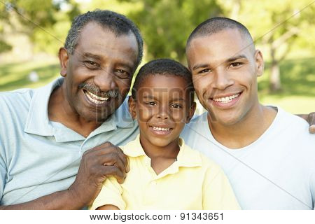 African American Grandfather, Father And Son Relaxing In Park