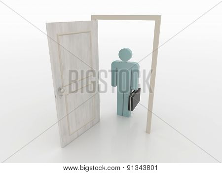 Businessman In Front Of An Open Door, 3D Render
