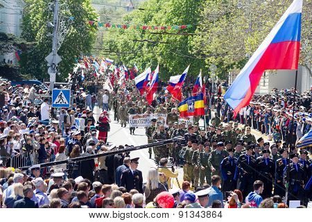 SEVASTOPOL / CRIMEA - MAY 9 2015: A lot of people watching the parade in honor of the 70th anniversa