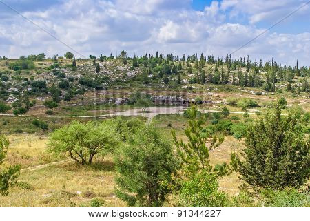 Israel landscape forest mountains with cave