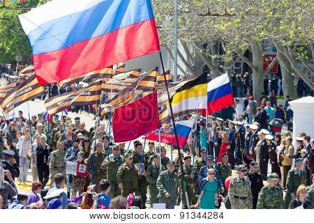 Sevastopol, Crimea - May 9, 2015: Parade In Honor Of The 70Th Anniversary Of Victory Day On 9 May 20