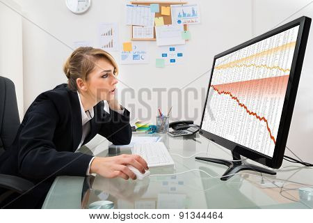 Businesswoman Watching Graph On Computer