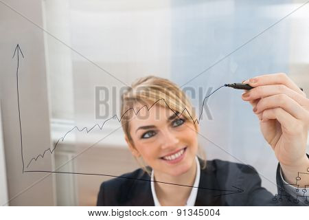 Businesswoman Drawing Graph On Glass Screen