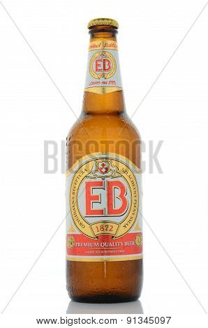 EB premium quality beer isolated on white background