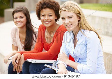 Teenage student girls working outdoors
