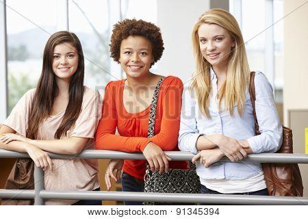 Teenage student girls indoors