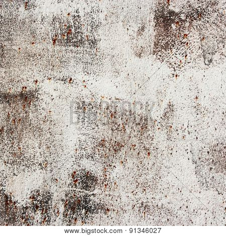 Abstact Background, Rust Metallic Wall With White Enamel.