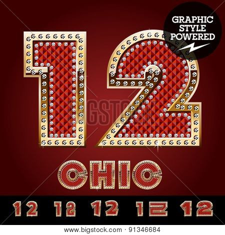 Vector luxury chic alphabet of gold and ruby letters, symbols and numbers with diamonds. File contains graphic styles available in Illustrator. Numbers 1 2