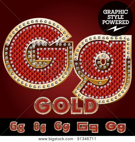 Vector luxury chic alphabet of gold and ruby letters, symbols and numbers with diamonds. File contains graphic styles available in Illustrator. Letter G