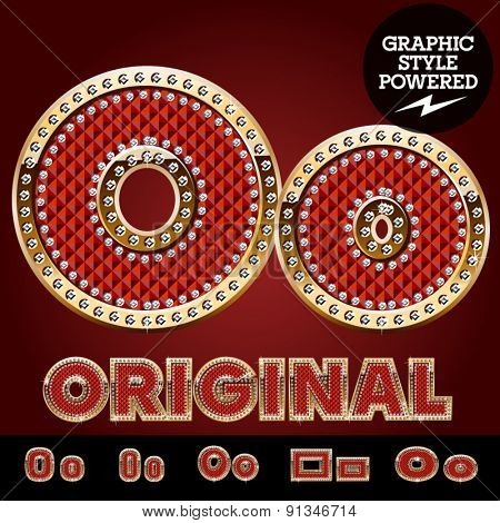 Vector luxury chic alphabet of gold and ruby letters, symbols and numbers with diamonds. File contains graphic styles available in Illustrator. Letter O