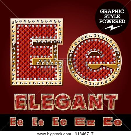 Vector luxury chic alphabet of gold and ruby letters, symbols and numbers with diamonds. File contains graphic styles available in Illustrator. Letter E