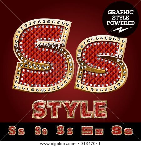 Vector luxury chic alphabet of gold and ruby letters, symbols and numbers with diamonds. File contains graphic styles available in Illustrator. Letter S
