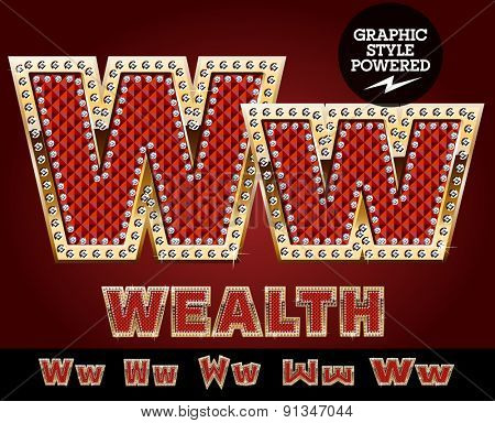 Vector luxury chic alphabet of gold and ruby letters, symbols and numbers with diamonds. File contains graphic styles available in Illustrator. Letter W