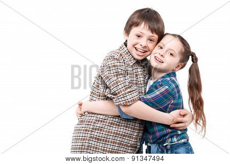 Brother and sister embracing