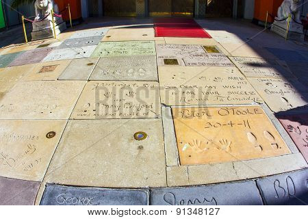 Handprints Of Mary Pickford And Peter O Toole In Hollywood Boulevard In The Concrete Of Chinese Thea