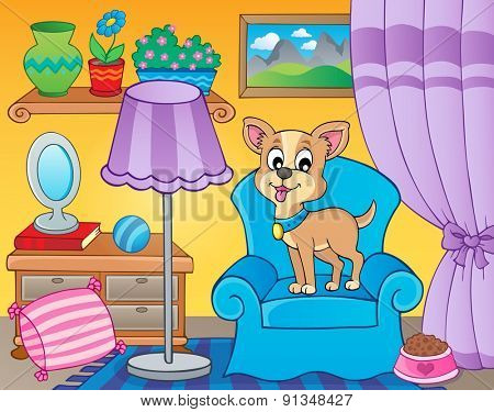 Room with dog on armchair - eps10 vector illustration.