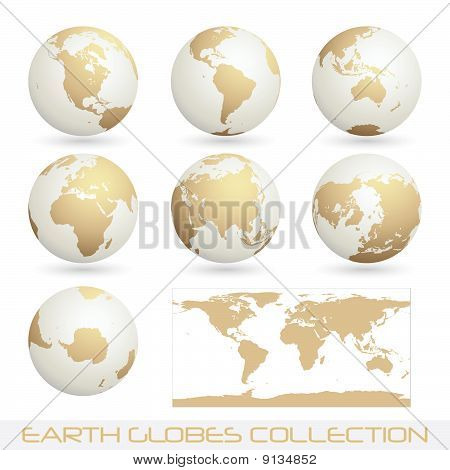 Earth Globes Colection, White - Cream