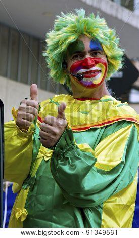 Clown at street in Sao Paulo