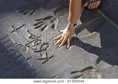 Handprints Of Twilight Saga Stars In Hollywood Boulevard In The Concrete Of Chinese Theatre's Foreco