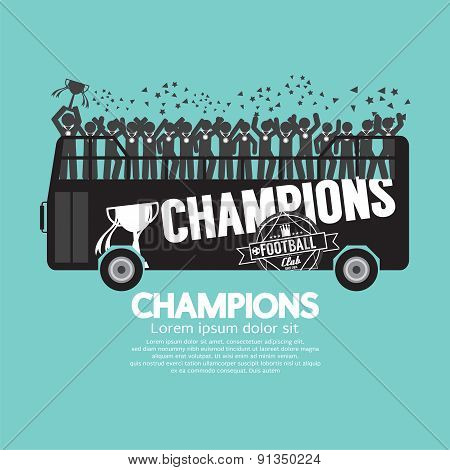 Football Or Soccer Champions Celebrate On Bus.