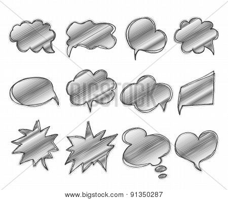 Collection Of Templates Speech Bubbles. Hand Drawn, Doodles