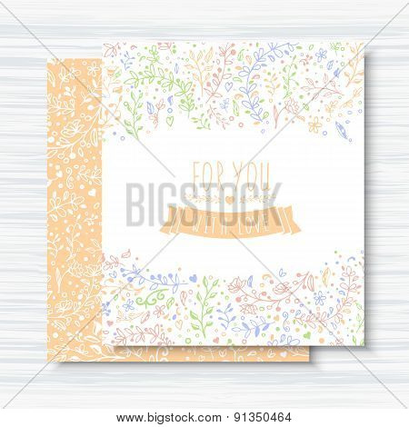 Vintage Cards With Flower Patterns And Ornaments, Wooden Background