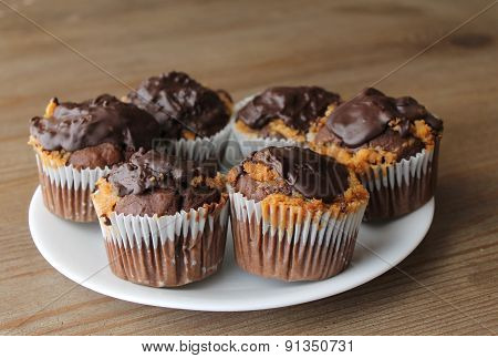 Plate of chocolate cupcakes
