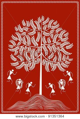 ' Dancing Under the Tree '  Ancient Indian Art - WARLI  Dancing Under the Tree