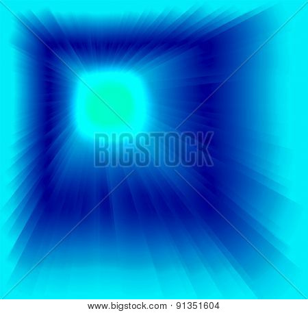 Blue background with sun light rays design template