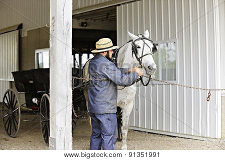 SUGARCREEK, OH - MAY 20, 2015:  An Amish man preparing his horse to pull an opened buggy.