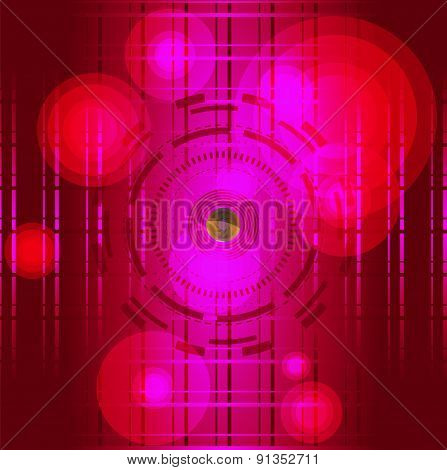 Abstract red background with circle light grid