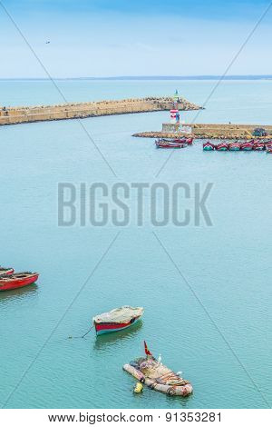 The port in a historic city El Jadida on the Atlantic coast of Morocco, in the province of El Jadida.