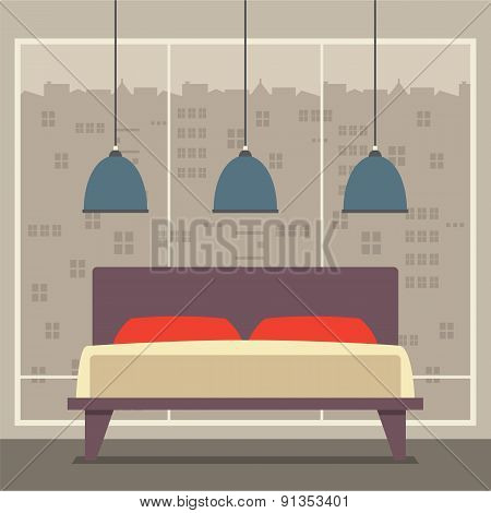 Flat Design Double  Bedroom.