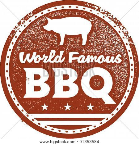 World Famous Barbecue BBQ Stamp