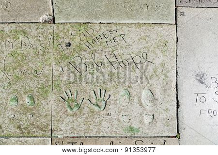 Bob Hopes Handprints In Hollywood Boulevard In The Concrete Of Chinese Theatre's Forecourt