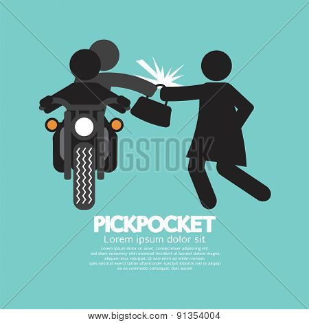 Pickpocket On Motorcycle With The Victim.