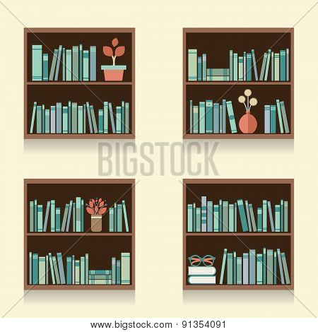 Set Of Wooden Bookshelves On Wall.