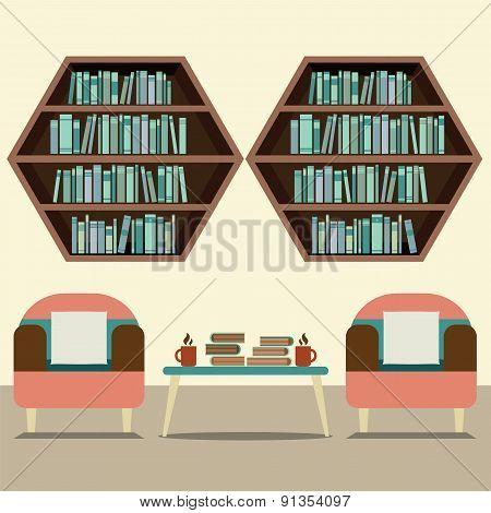 Two Sofas With Hexagon Bookshelves.