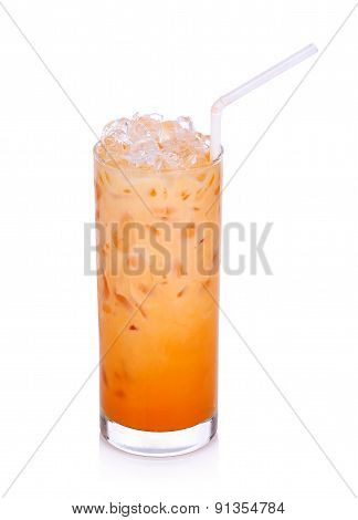 Milk Tea With Ice Isolated On The White Background
