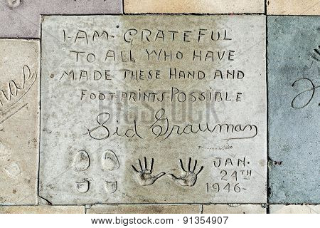 Handprints Of Sid Grauman In Hollywood Boulevard In The Concrete Of Chinese Theatre's Forecourt