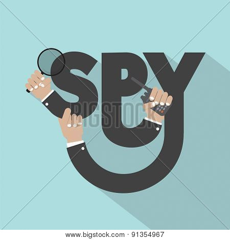 Magnifying Glass In Hand With Spy Typography Design.