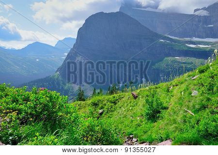 High Alpine Landscape On The Grinnell Glacier Trail In Glacier National Park, Montana