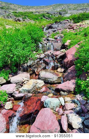 High Alpine Creek On The Grinnell Glacier Trail In Glacier National Park, Montana